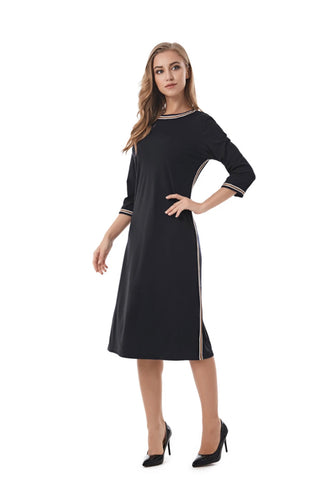 Casual Modest Black sheath dress with Stripe