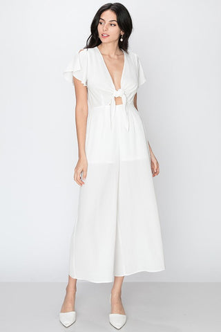 TIE FRONT FLUTTER SLEEVE JUMPSUIT-WHITE