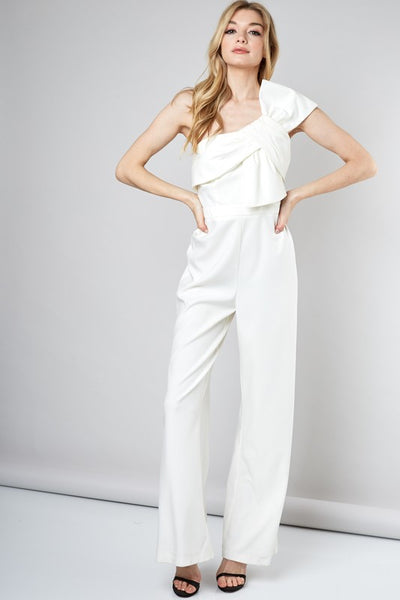 BOW ONE SHOULDER JUMPSUIT White