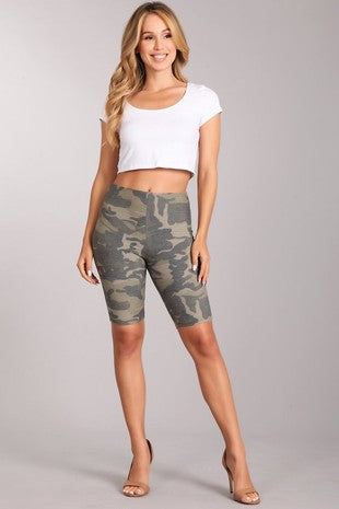 Camo print mid-thigh bike shorts with elastic waist.