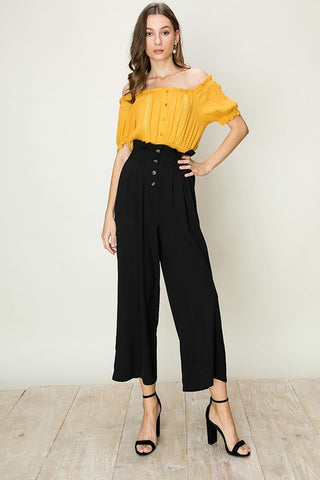 BUTTON FRONT PAPERBAG WAIST PANTS