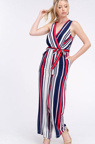 MULTI STRIPE V-NECK WRAP JUMPSUIT Navy/Stripe
