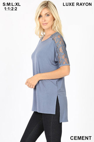 LUXE RAYON LACE SLEEVE SIDE SLIT HIGH-LOW HEM TOP