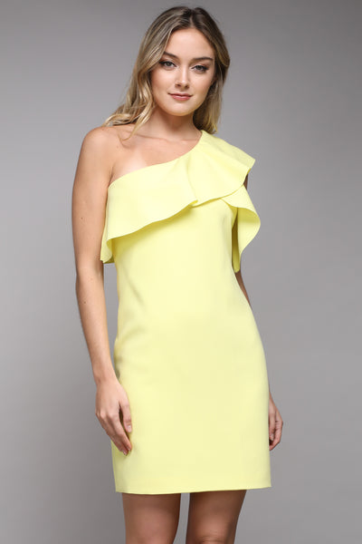ONE SHOULDER RUFFLE DRESS-LEMON