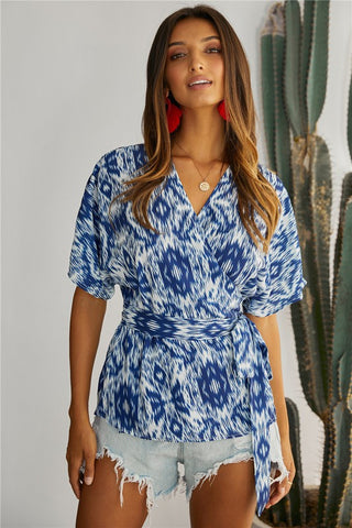 Blue Mosaic Printed Wrap Tunic Top