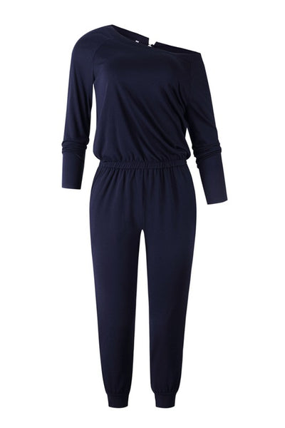 Navy Off shoulder Jumpsuit