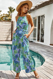 Spaghetti Strap Floral Long Jumpsuit