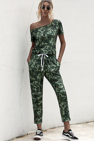 In the City Short Sleeve Camo GREEN Jumpsuit