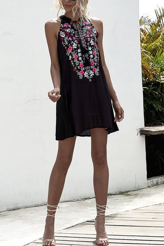 Black Halter Neck Mini Dress