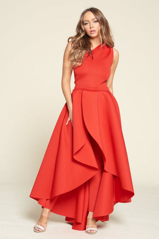 One Shoulder Off Party Jumpsuit With Detachable skirt Red