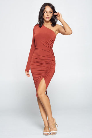 Ruched To You Dark Rust Dress