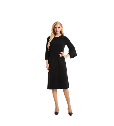 3/4 Flouncing Bell Sleeve Modest Dress