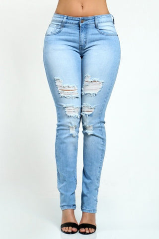 Ripped Jeans distressed boot cut