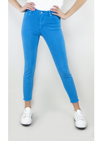 BASIC HI WAIST SKINNY CROP PANTS Dive Blue