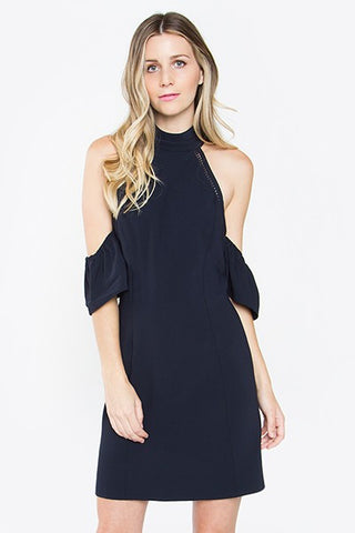 High neck cold shoulder dress Dark Navy