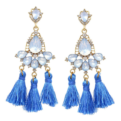 Teardrop Stone Pave Floral Tassel Fringe Drop Earrings Blue
