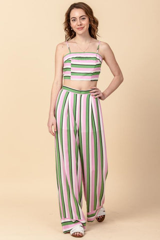 STRIPE CROP TOP AND WIDE LEG PANT SET