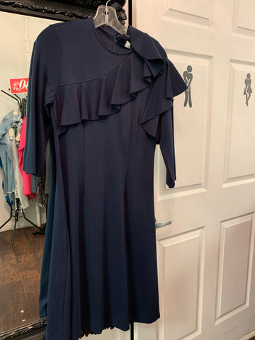 Navy ruffle Dress ivee