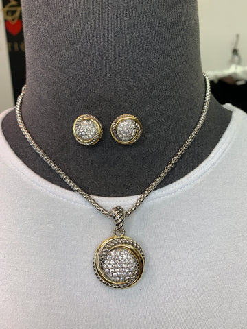 Round two Tone Necklace & Earrings Set