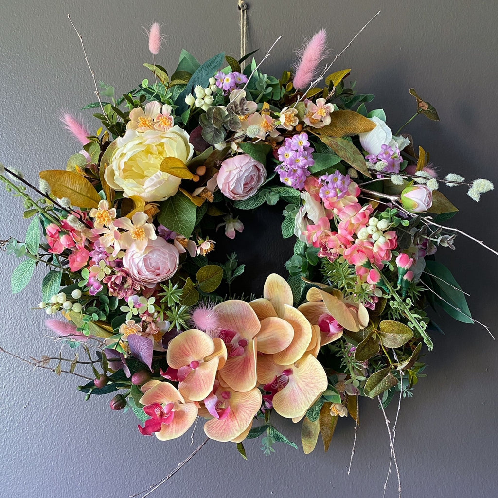 Pink Sherbet Wreath - honeybee blooms