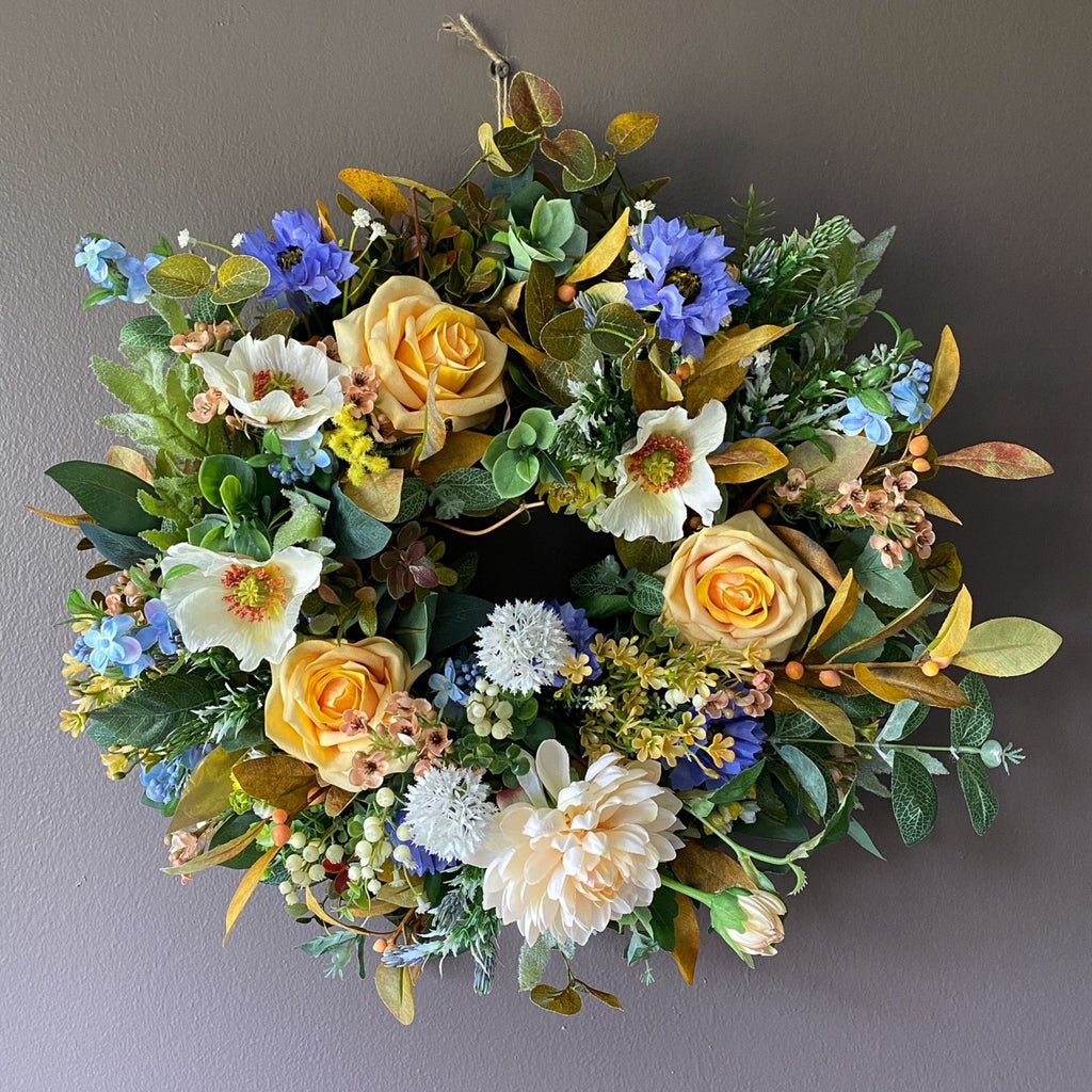 Saffron Yellow & Cornflower Wreath - honeybee blooms