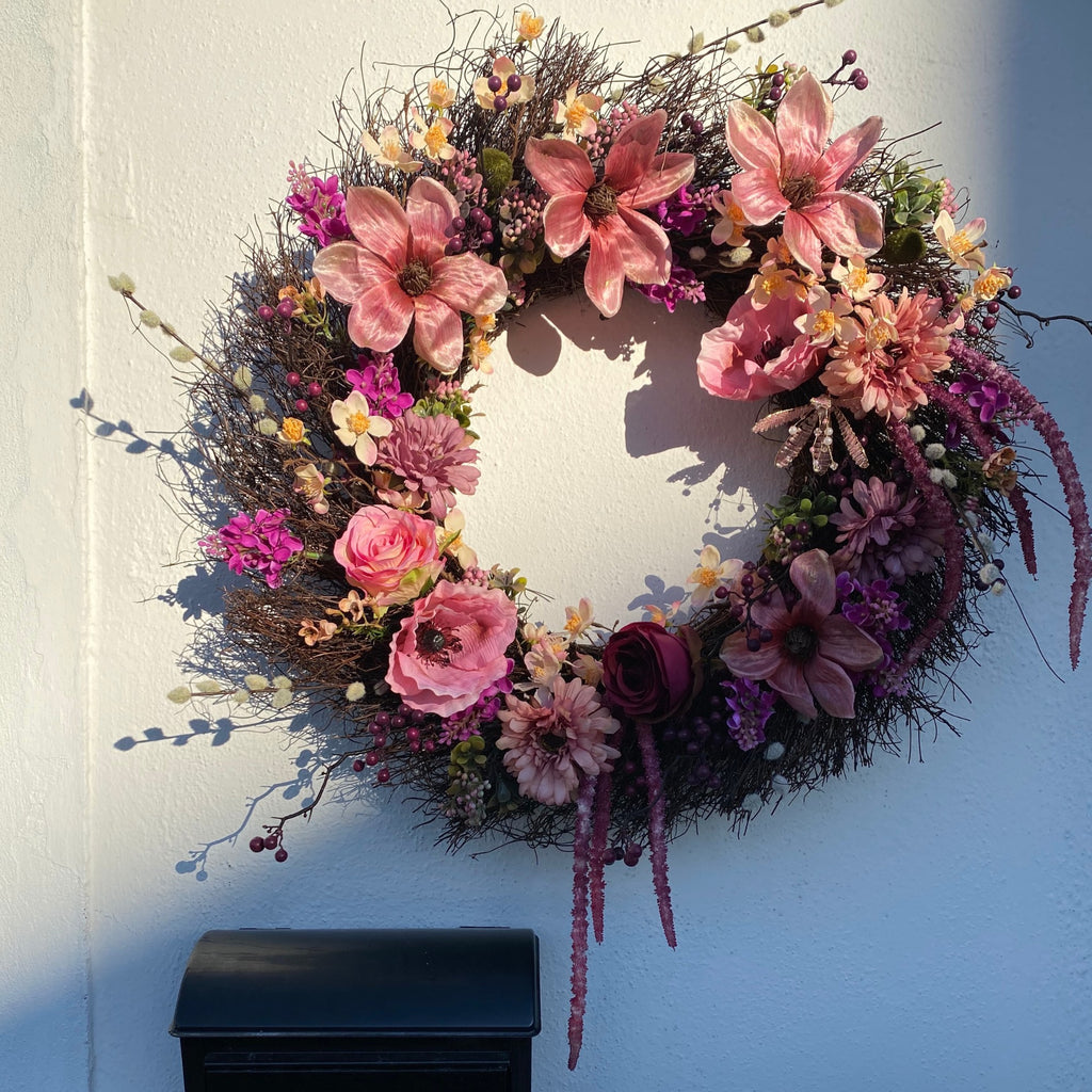 Magnolia Pink Wreath - honeybee blooms