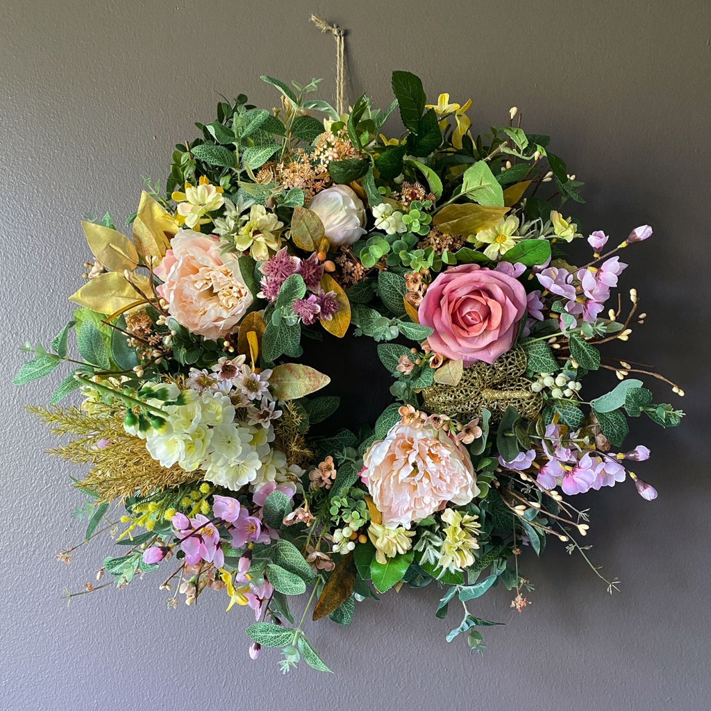 Floral Enchantment Wreath - honeybee blooms