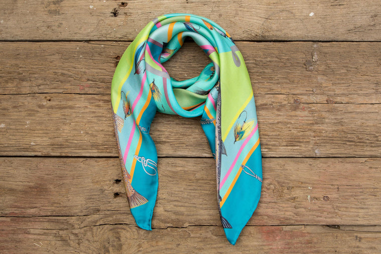 Gift for her, luxury fishing print 100% hand rolled silk scarf