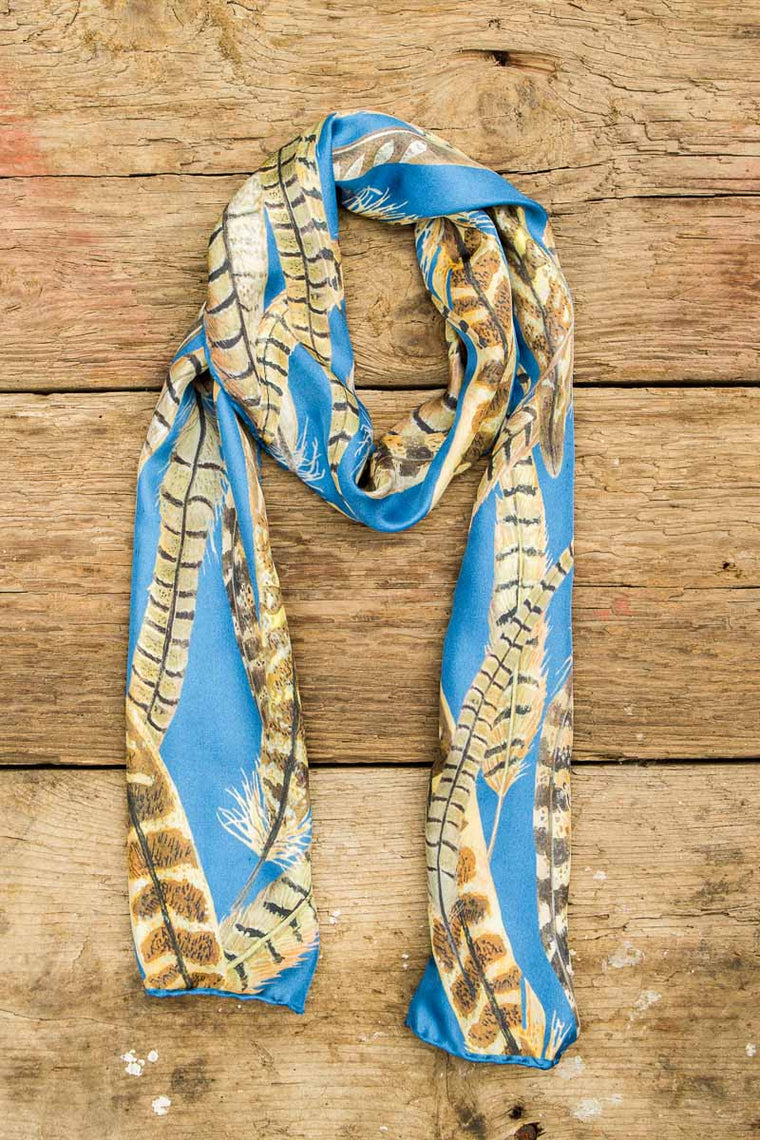 Gift for her, luxury skinny 100% silk feather print scarf