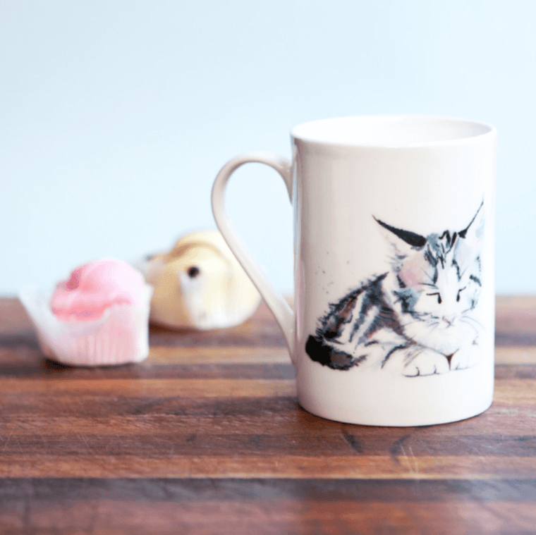 Inky Kitten Fine Bone China Mug