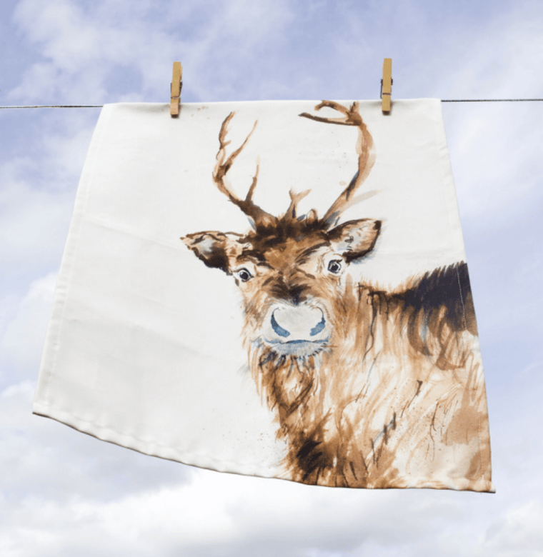 Inky Reindeer Tea Towel
