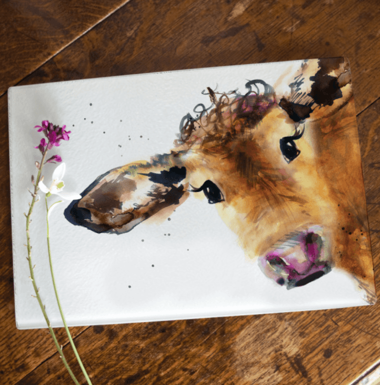 Gift for Her, Gift for Him, Kate Moby Inky Cow Glass Worktop Saver