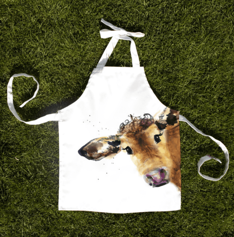 Gift for Her, Gift for Him, Kate Moby Inky Cow Child Apron