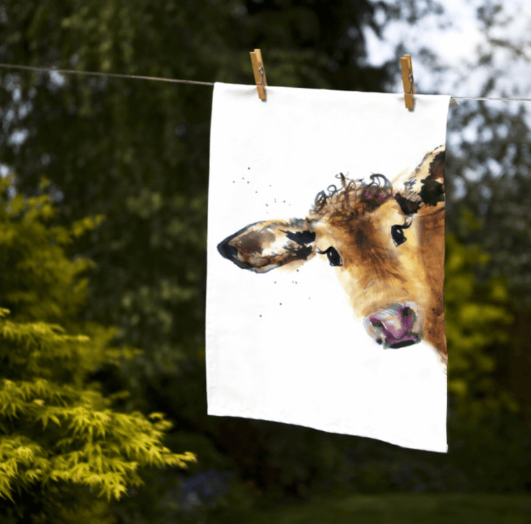 Gift for Her, Gift for Him, Kate Moby Inky Cow Tea Towel