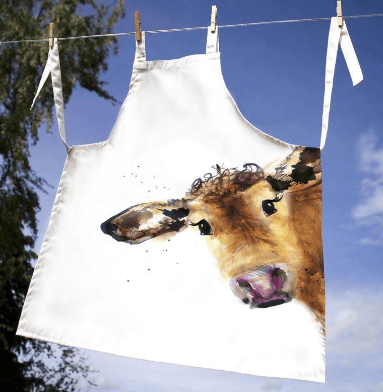 Gift for Her, Gift for Him, Kate Moby Inky Cow Adult Apron