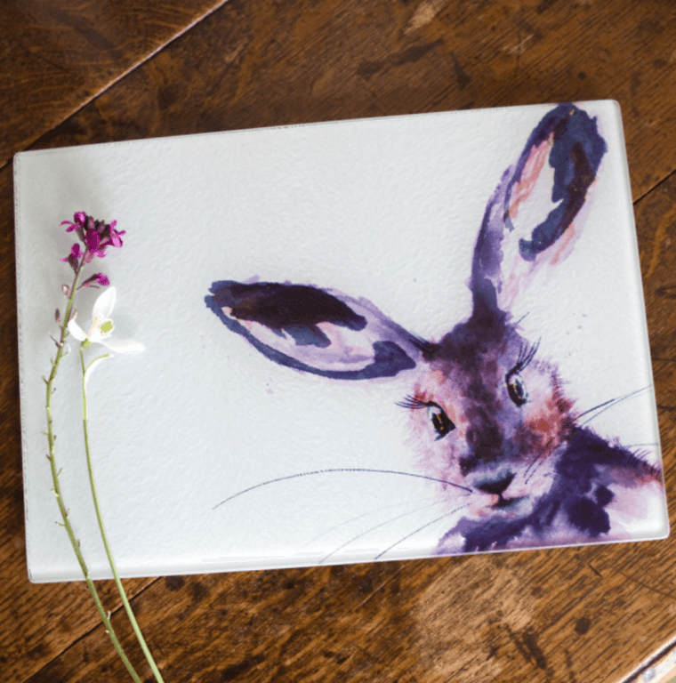 Inky Hare Glass Worktop Saver