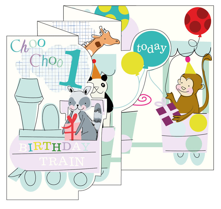 Zigzag Fold Out Card 1 Boy Train