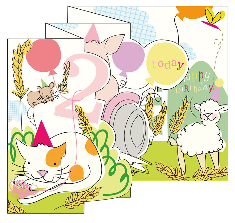 Zigzag Fold Out Card 2 Girl Farm