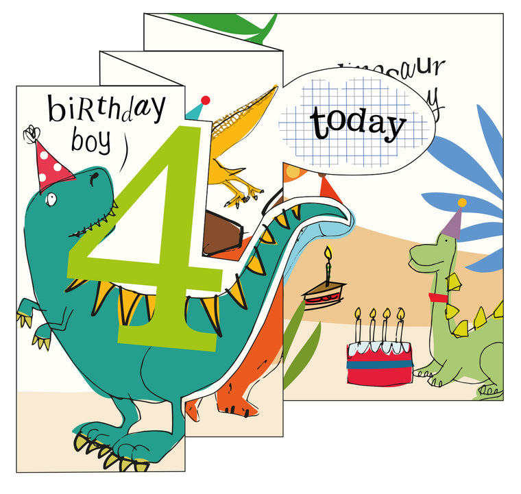 Zigzag Fold Out Card 4 Boy Dinosaur