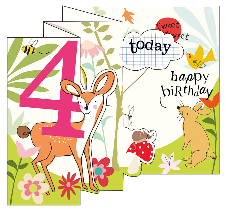 Zigzag Fold Out Card 4 Girl Woodland