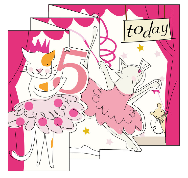 Zigzag Fold Out Card 5 Girl Cat Ballerina
