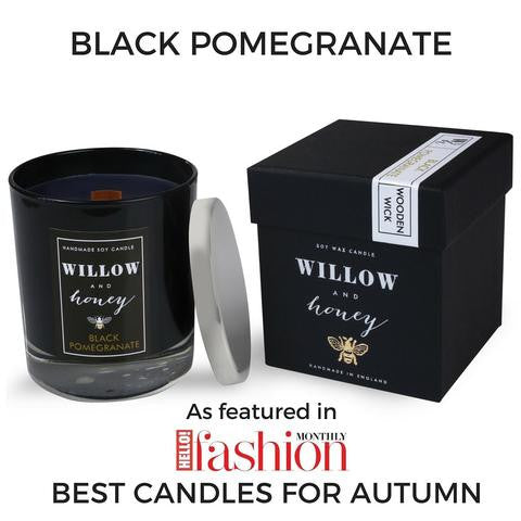 Black Pomegranate Wooden Wick Candle 220g