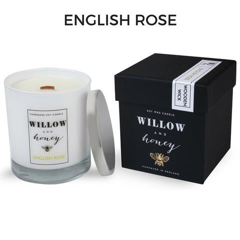 English Rose Wooden Wick Candle 220g