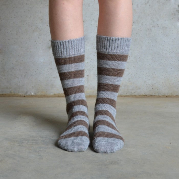 Tom Lane brown and grey stripe alpaca sock