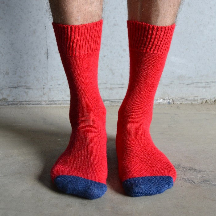 Tom Lane red & Navy alpaca sock