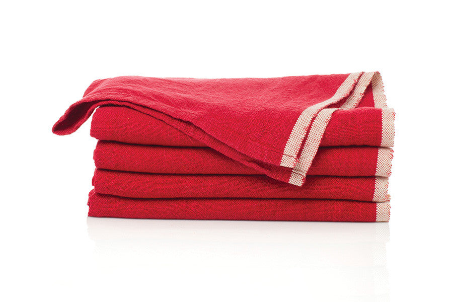 Chunky Red Linen Napkins