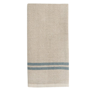 Vintage Linen Kitchen Towels Natural & Blue, Set of 2