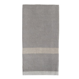 Laundered Linen Kitchen Towels Grey & Natural, Set of 2