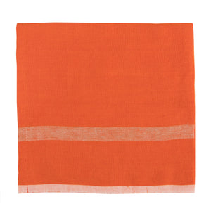 Laundered Linen Napkins Orange & Natural, Set of 4