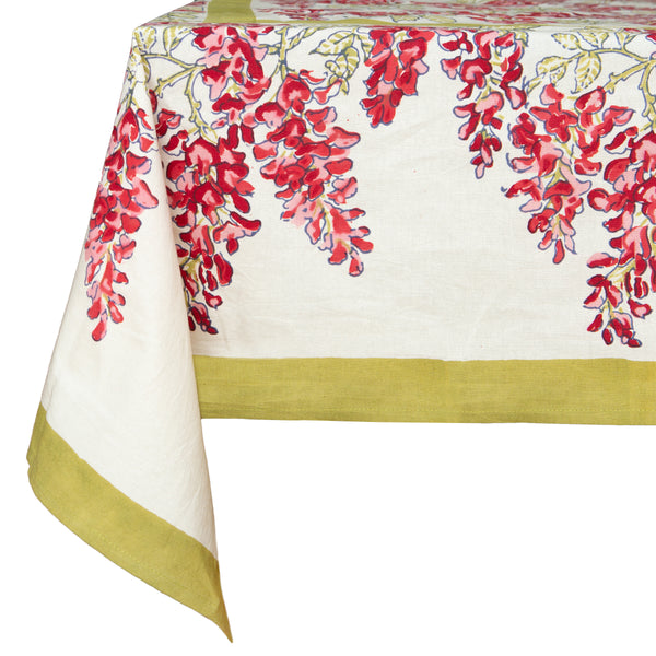 French Tablecloth Wisteria Green & Pink